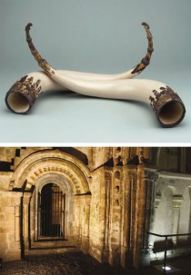 TOP: Anglo-Saxon drinking horns (By permission of the British Museum) BOTTOM: Archway in Cormac's Chapel, Cashel