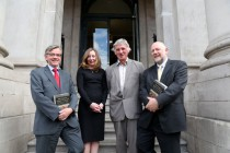 L to R: Carsten Sondergaard (Danish Ambassador to Ireland), editors Ruth Johnson & Howard Clarke, Solve Steinhovden (Norwegian Embassy) (photo courtesy of Jason Clarke Photography).